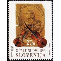 1 عدد تمبر سیصدمین سال تولد جوزپه تارتینی - آهنگساز و ویولونیست - اسلوونی 1992