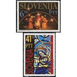 2 عدد تمبر کریستمس - اسلوونی 1992