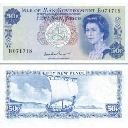 اسکناس 50 پنس - امضا عریض - جزیره من 1974 سفارشی - توضیحات را ببینید