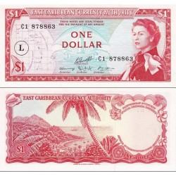 اسکناس 1 دلار -سورشارژ L - سنت لوئیز 1965 -  قلمرو کارائیب شرقی 1965 سفارشی - توضیحات را ببینید