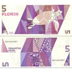 اسکناس 5 فلورین - آروبا 1990 سفارشی - توضیحات را ببینید