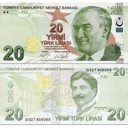 اسکناس 20 لیر - ترکیه 2009 سفارشی - توضیحات را ببینید