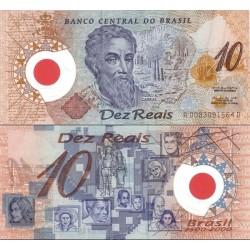 اسکناس پلیمر 10 ریاس - یادبود 500مین سال کشف برزیل - برزیل 2000 نام روی اسکناس Pedro A. Cabral - سفارشی - توضیحات را ببینید
