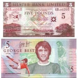 اسکناس پلیمر 5 پوند استرلینگ - یادبود جرج بست - ایرلند شمالی 2006 سفارشی - توضیحات را ببینید