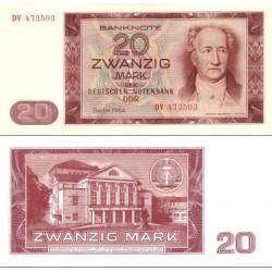 اسکناس 20 مارک - جمهوری دموکراتیک آلمان 1964 سفارشی - توضیحات را ببینید