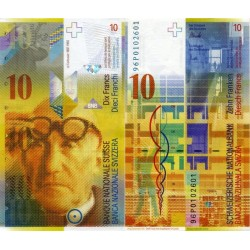 اسکناس 10 فرانک - سوئیس 1996 سفارشی - توضیحات را ببینید