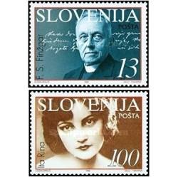 2 عدد تمبر اسلوونیائیهای برجسته - فینزگار نویسنده و رینا هنرپیشه - اسلوونی 1996