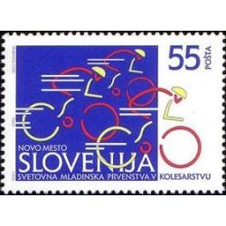 1 عدد تمبر ورزشی - قهرمانی جهانی مسابقات دوچرخه سواری جوانان - اسلوونی 1996
