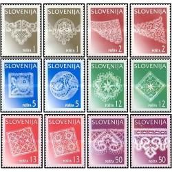 12 عدد تمبر قیطانبافی - تور - اسلوونی 1996