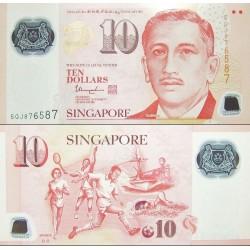 اسکناس پلیمر 10 دلار - سنگاپور 2018 با دو علامت پشت زیر کلمه Sport - سفارشی - توضیحات را ببینید