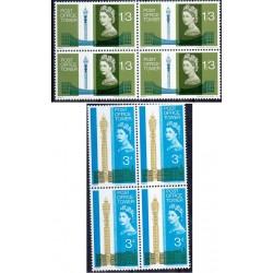 2 عدد بلوک تمبر افتتاح برج اداره پست لندن - انگلیس 1965