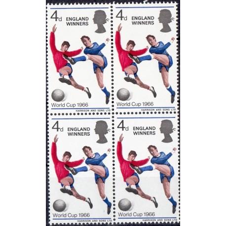 1 عدد بلوک تمبر برندگان جام جهانی فوتبال انگلیس - سورشارژ - انگلیس 1966