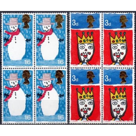 2 عدد بلوک تمبر کریستمس - انگلیس 1966
