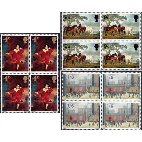 3 عدد بلوک تمبر تابلو نقاشی - انگلیس 1967