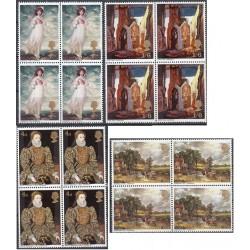 4 عدد بلوک تمبر تابلو نقاشی - انگلیس 1968