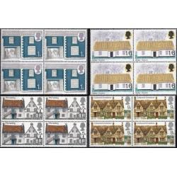 4 عدد بلوک تمبر جام معماری روستائی - انگلیس 1970