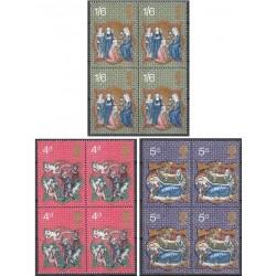 3 عدد بلوک تمبر کریستمس - انگلیس 1970