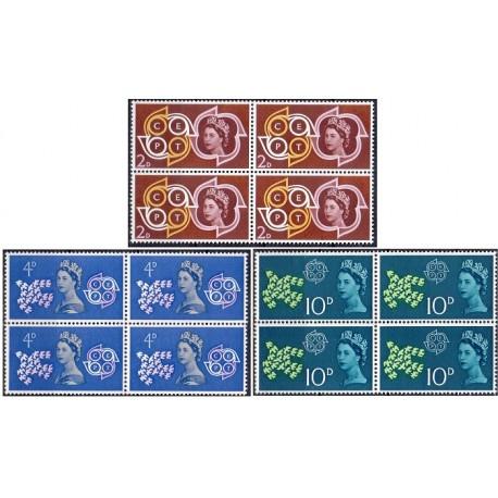 3 عدد بلوک تمبر مشترک اروپا - Europa Cept - انگلیس 1961