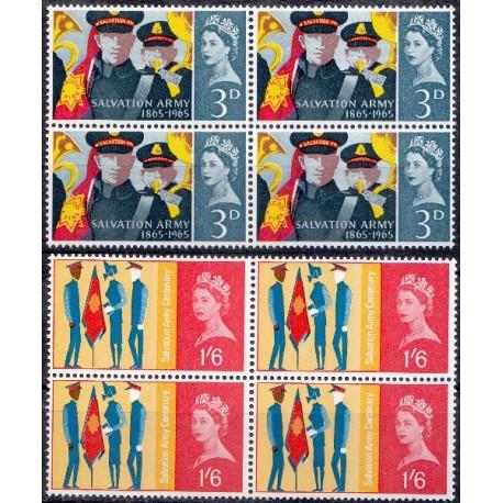 2 عدد بلوک  تمبر  صد سالگی ارتش نجات - انگلیس 1965