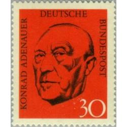 1 عدد تمبر کنراد آدناور - اولین صدر اعظم آلمان - جمهوری فدرال آلمان 1968