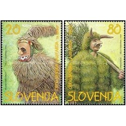2 عدد تمبر ماسکهای فولکلور  - اسلوونی 1997