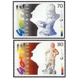 2 عدد تمبر هنر - فرانس گورس مجسمه ساز - اسلوونی 1997