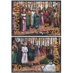 2 عدد تمبر  فولکلور - ماسکها  - اسلوونی 1998