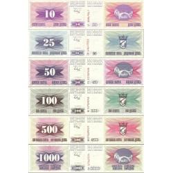 نیم ست اسکناسهای 10،25،50،100،500،1000 دینار - بوسنی و هرزگوین 1992