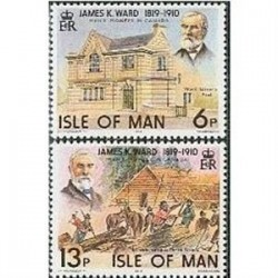 2 عدد تمبر جیمز وارد - تاجر الوار و سیاستمدار - جزیره من 1978