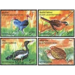 4 عدد تمبر پرندگان در معرض خطر انقراض هند - B - هندوستان 2006