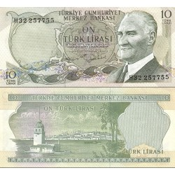 اسکناس 10 لیر - ترکیه 1970