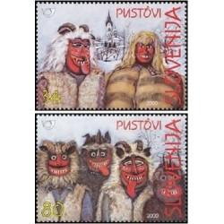2 عدد تمبر فولکلور - ماسکها  - اسلوونی 2000