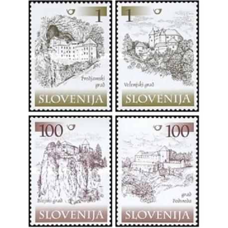4 عدد تمبر قلعه ها و ملکهای اربابی - اسلوونی 2000