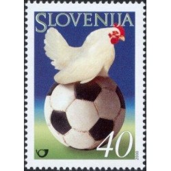 1 عدد تمبر فینال لیگ فوتبال اروپا بین بلژیک و هلند - اسلوونی 2000