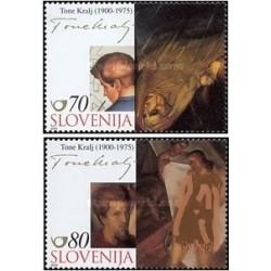 2 عدد تمبر هنر - تابلو اثر تون کرالج - اسلوونی 2000