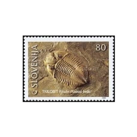 1 عدد تمبر فسیلها - اسلوونی 2000