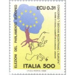 1 عدد تمبر سومین انتخابات پارلمان اروپا - ایتالیا 1989