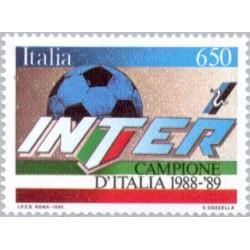 1 عدد تمبر اینتر قهرمانان ملی فوتبال - ایتالیا 1989