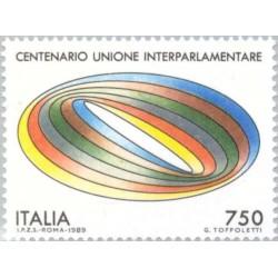 1 عدد تمبر صدمین سال اتحادیه بین پارلمانی - ایتالیا 1989