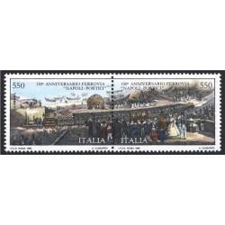 2 عدد تمبر 150مین سالگرد راه آهن ناپل پورتیسی - ایتالیا 1989