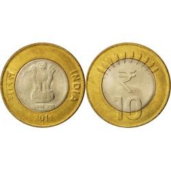 سکه 10 روپیه - بیمتال - هندوستان 2013 غیر بانکی