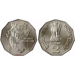 سکه 2 روپیه - نیکل مس - هندوستان 1997 غیر بانکی