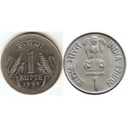 سکه 1 روپیه - فولاد ضد زنگ - هندوستان 1995 غیر بانکی