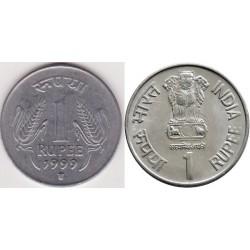 سکه 1 روپیه - فولاد ضد زنگ - هندوستان 1999 غیر بانکی