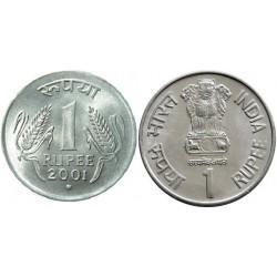 سکه 1 روپیه - فولاد ضد زنگ - هندوستان 2001 غیر بانکی