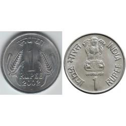 سکه 1 روپیه - فولاد ضد زنگ - هندوستان 2002 غیر بانکی