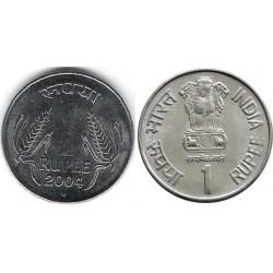 سکه 1 روپیه - فولاد ضد زنگ - هندوستان 2004 غیر بانکی