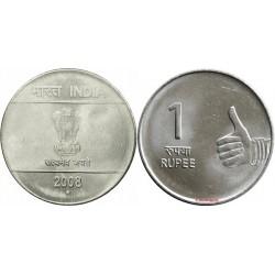 سکه 1 روپیه - فولاد ضد زنگ - هندوستان 2008 غیر بانکی