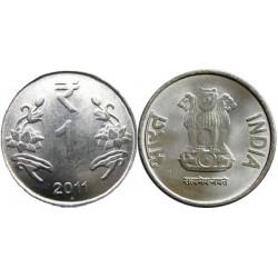 سکه 1 روپیه - فولاد ضد زنگ - هندوستان 2011 غیر بانکی