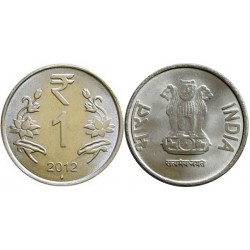 سکه 1 روپیه - فولاد ضد زنگ - هندوستان 2012 غیر بانکی